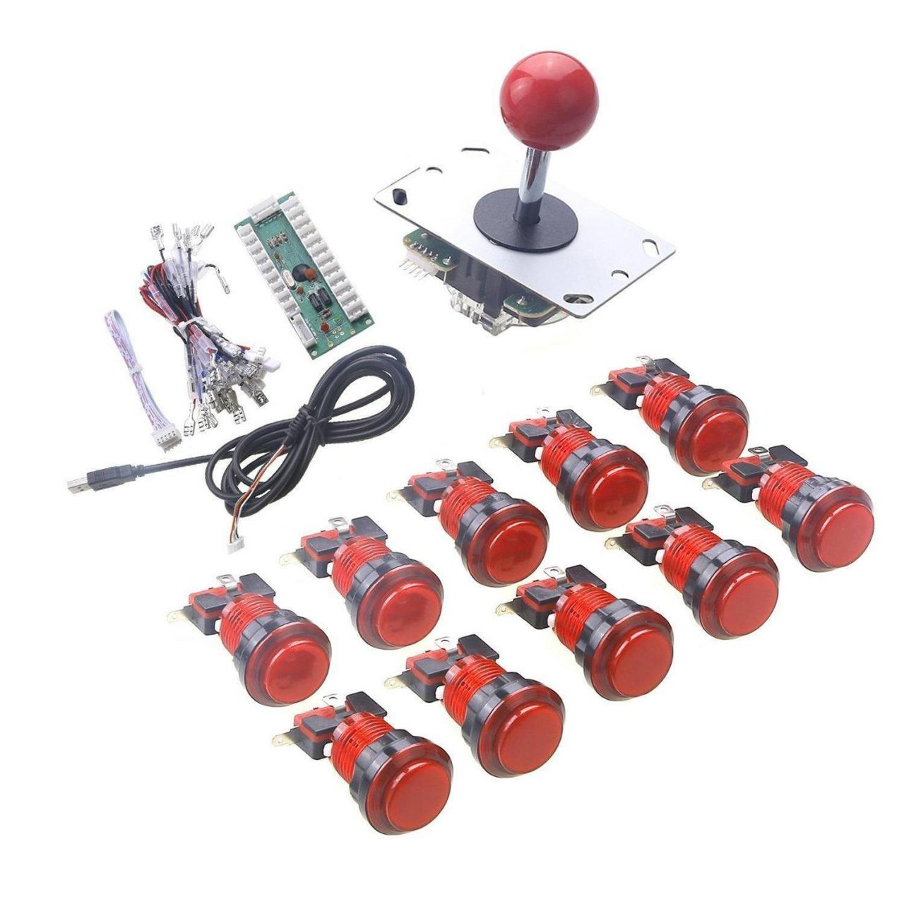 Buy cheap 1 Player LED Arcade Button and 5Pin Joystick DIY Kit - Red from wholesalers