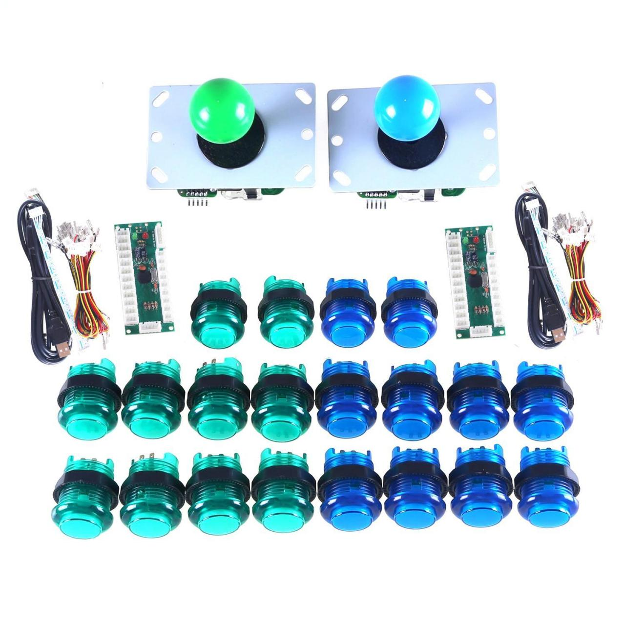Buy cheap Blue + Green Arcade Button and Joystick Zero Delay Kits from wholesalers