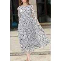 Buy cheap Round Neck 3/4 Sleeve Elegant Geometric Printed Lace Maxi Dress from wholesalers