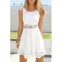 Buy cheap White Lace Insert Waist Tanks A-line Dress from wholesalers