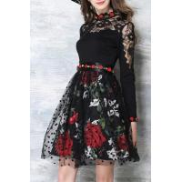 Buy cheap Glamorous Chic Lace Mesh Patchwork Floral Pattern Long Sleeve Round Neck Mini Dress from wholesalers