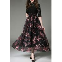 Buy cheap Fake Two-Piece Lace Inserted Bow Waist Floral Printed A-Line Maxi Dress from wholesalers
