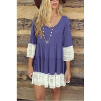 Buy cheap Scoop Neck 3/4 Length Sleeve Color Block Lace Patchwork Dress from wholesalers