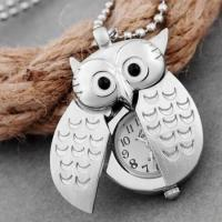 Silver plated pendant necklace owl necklace pocket watch Umhngeuhr