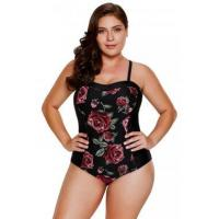 Blooming Rose Print Hourglass One Piece Swimsuit LC410448