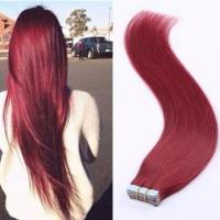 Buy cheap Burgany Tape Human Hair Skin Weft,Red Human Hair Skin Weft 20Pcs/Set from wholesalers