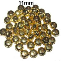 Metallic Acrylic Beads11mm, Gold metallic CCB Acrylic Beads, Sold by 300/Pcs Bag.