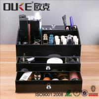 Buy cheap Black Makeup Organizer Lucite Acrylic Makeup Box With Drawers from wholesalers