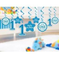 1st Birthday Party Swirl Hanging Decoration for Boy