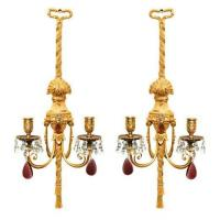 Pair of gilt bronze and crystal sconces by Caldwell Stock Number: L5