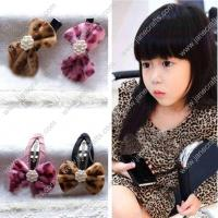 "Buy cheap 2"" Leopard Velvet Bow with Black Alligator or Covered Hair Snap 8pcs from Wholesalers"