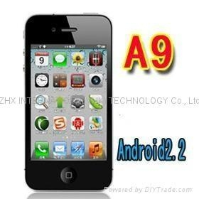 Quality iphone 4 copy A9 Google android 2.2 GPS wifi 3.5 Super Amoled mobile phone for sale