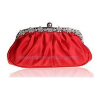 Flower Frame with Rhinestones Ball Clip Vintage Soft Satin Clutch Evening Bags HH-E115