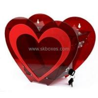 Buy cheap Heart shape red acrylic ballot box with lock BBS-007 from wholesalers