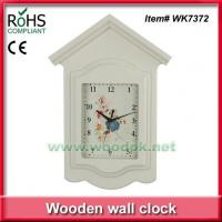China WK7372New design painting house shape wooden wall clock on sale