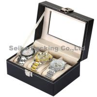 Wholesale Black Letherette Watch Box 3 Grids with Pillows
