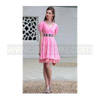 Buy cheap Drape Shoulder V Neck pink short prom dress from Wholesalers