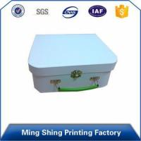Buy cheap Paper Material, Glossy Stamping custom paper cardboard lock storage box with handle from Wholesalers
