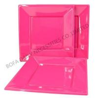 Party tableware set 7 inch & 9 inch plastic square pink plate