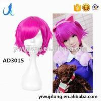 Quality 2016 Cheap Fashion Synthetic Hair Wig Rose Red Colored Cosplay Party Wig For Wholesale wholesale
